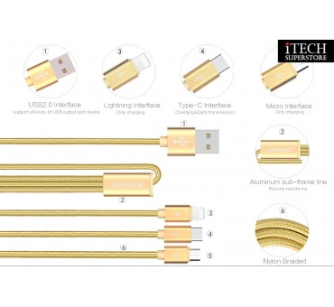 USB 2.0 3in1 Cable -- U-Share Series (Type C+ Micro+ Lightning)