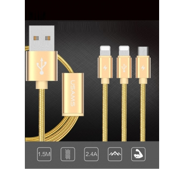 USB 3 in 1 Cable -- U-Share Series (2 Lightning + 1 Micro)